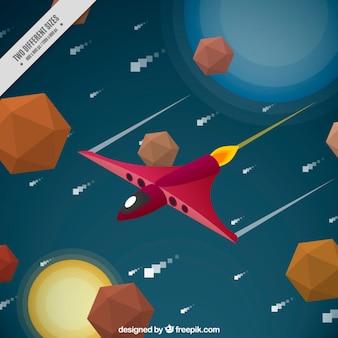 Jeu vidéo scène avec un vaisseau spatial