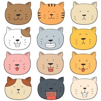 Jeu de visage de chat vectorielles