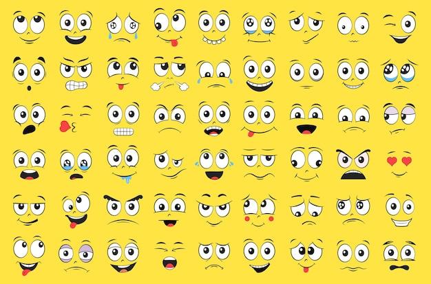 Jeu de visages de dessin animé. expressions faciales.