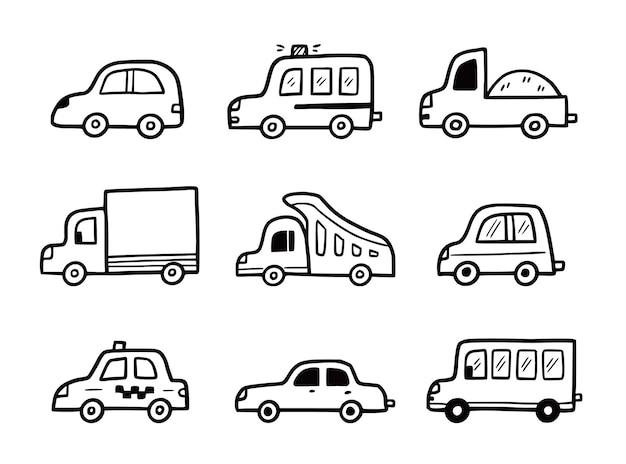 Jeu de voiture doodle croquis drôle