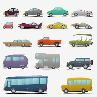 Jeu de voitures de dessin animé isolé