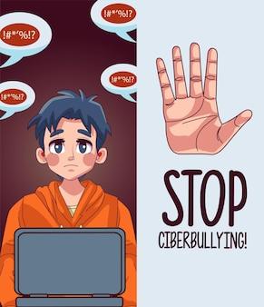 Jeune adolescent garçon utilisant un ordinateur portable avec lettrage d'arrêt de cyberintimidation