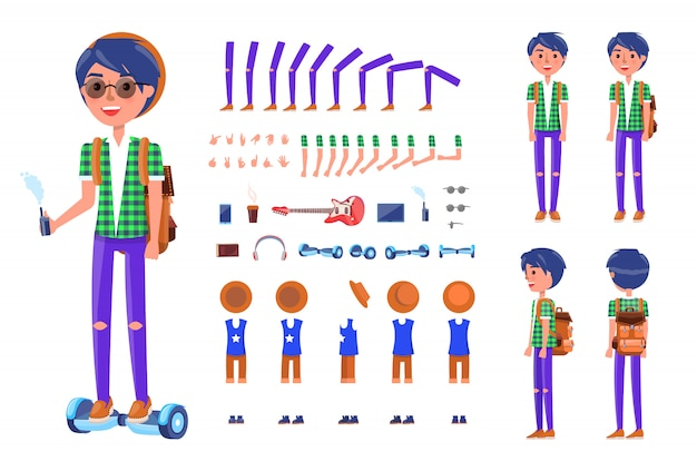 Jeune adolescent avec hoverboard icons set