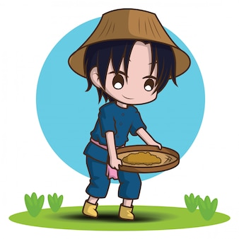 Jeune agriculteur mignon dessin animé tenant le râteau.