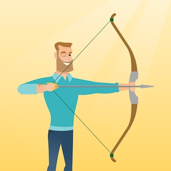Jeune archer caucasien s'entraînant avec un arc