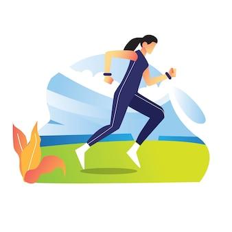 Jeune athlète pratiquant courir dans le champ