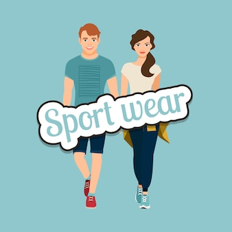 Jeune beau couple dans un style sportif