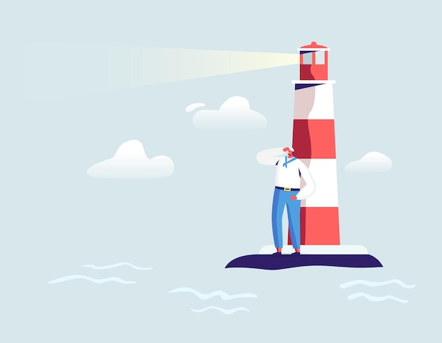 Jeune beau marin debout à beacon dans l'océan à la recherche de loin. personnage masculin en uniforme blanc et casquette. l'équipage du navire au travail
