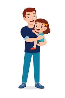 Jeune beau père porter un enfant mignon