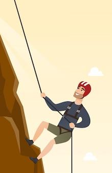 Jeune, caucasien, escalade, montagne, corde