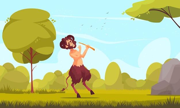 Jeune centaure satyre dans la nature jouant de la flûte