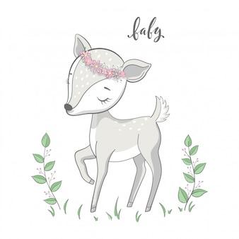 Jeune cerf de dessin animé avec des branches