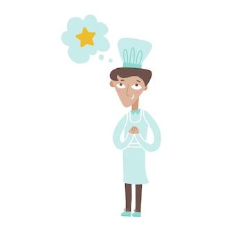 Jeune chef cuisinier dreamong sur le prix des étoiles et chef de restaurant souriant en uniforme blanc vecteur plat
