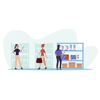 Jeune, couple, achats, appareils, activité, caractères