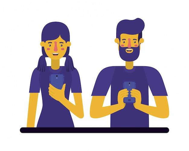 Jeune couple à l'aide de smartphone