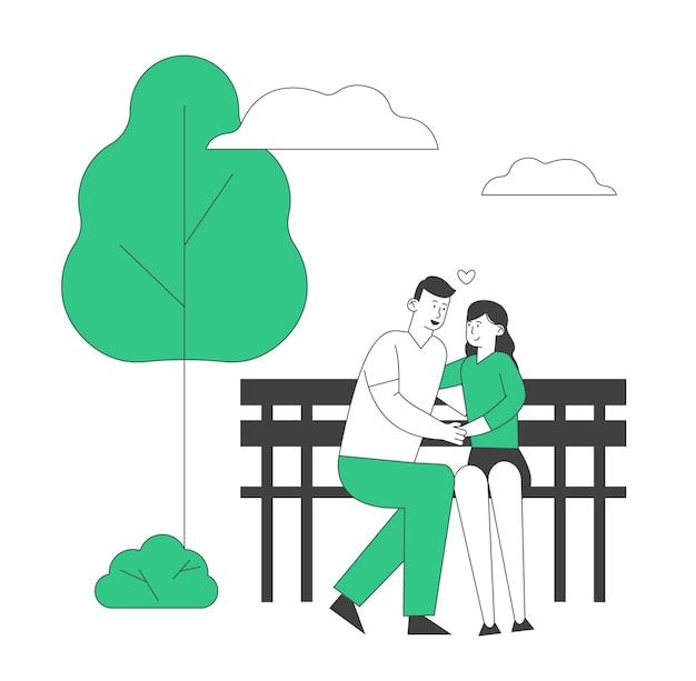 Jeune couple aimant étreindre assis sur un banc dans le parc de la ville. relations romantiques