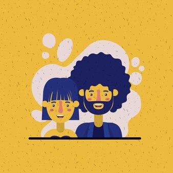 Jeune couple amoureux avatars caractères