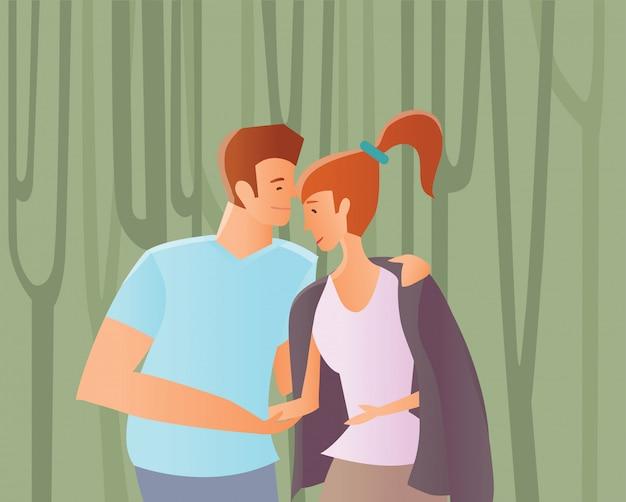 Jeune couple amoureux. homme et femme marchant parmi les arbres dans un parc ou dans les bois. illustration.