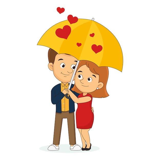 Jeune couple d'amoureux marchant par parc en coeur de pluie, happy valentine day