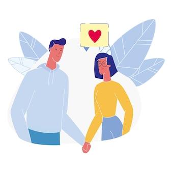 Jeune couple, amoureux, plat, illustration