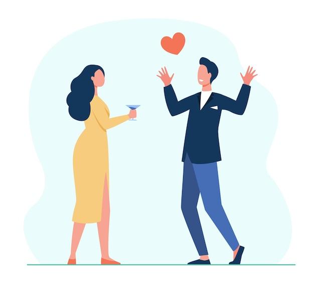 Jeune couple amoureux de rencontres. réunion, coeur rouge, boire de l'alcool. illustration de bande dessinée