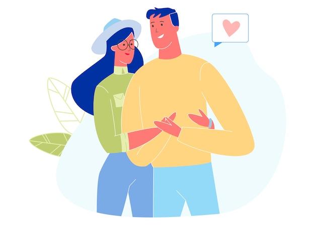 Jeune couple amoureux s'embrassant, relation