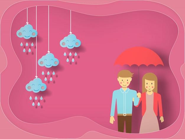 Jeune couple amoureux sous un parapluie sur fond de coeurs décorés, vecteur de bonne saint valentin.