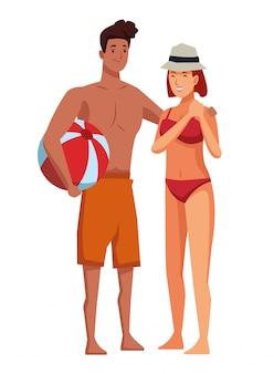 Jeune couple en appréciant les dessins animés de l'été
