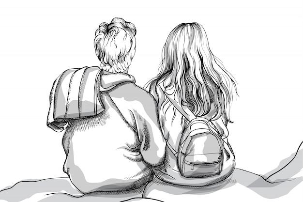 Jeune couple câlins sur le rocher du sommet de la montagne. dessin au trait