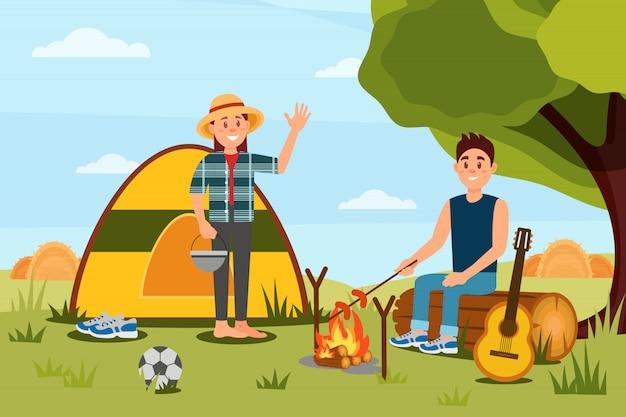 Jeune couple en camping. femme agitant la main, l'homme cuisine des saucisses sur un feu de camp. paysage naturel. design plat