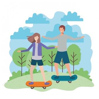 Jeune couple en caractères de planches à roulettes