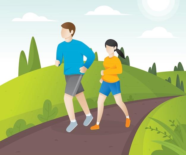 Jeune couple courir dans le parc