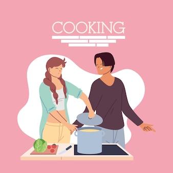 Jeune couple, cuisine, délicieux, dîner, illustration, conception