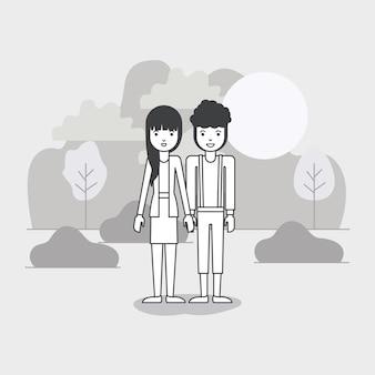 Jeune couple dans le domaine avatars caractères