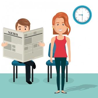 Jeune couple dans la salle d'attente des personnages d'avatars