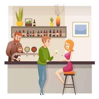 Jeune couple, date, dans, restaurant, bar, ou, vecteur pub