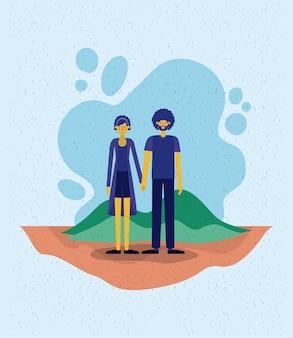 Jeune couple en dehors des personnages d'avatars de scène