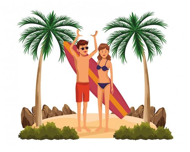 Jeune couple avec dessin animé de table de surf