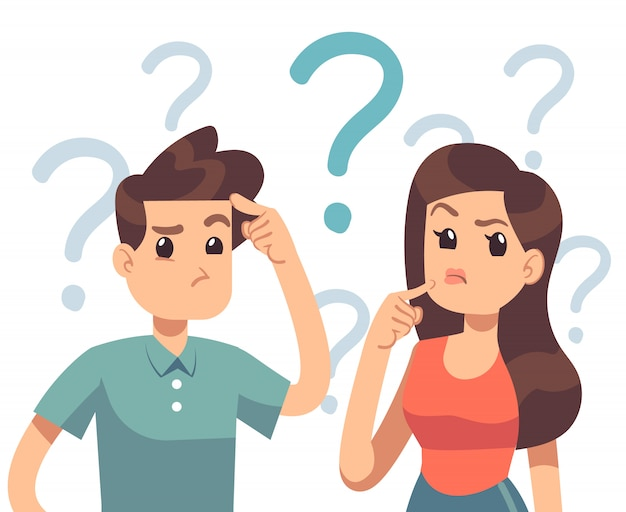 Jeune couple en difficulté. confondre femme et homme pensant ensemble. les gens avec des points d'interrogation vector illustration