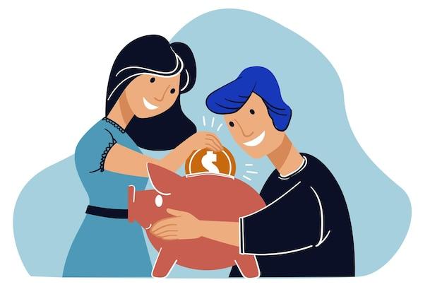Jeune Couple économisant De L'argent Dans La Tirelire Pour L'avenir Vecteur Premium