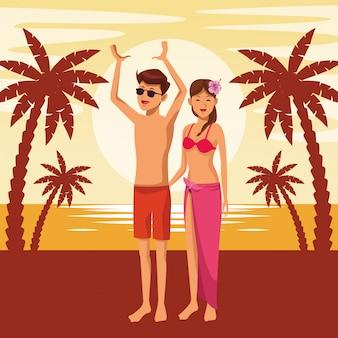 Jeune couple en été