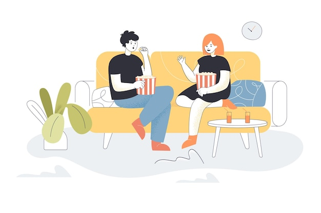Jeune couple de famille regardant la télévision ensemble