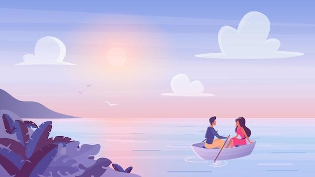 Jeune couple flottant au bateau en bois avec coucher de soleil romantique, passer du temps ensemble en bateau.