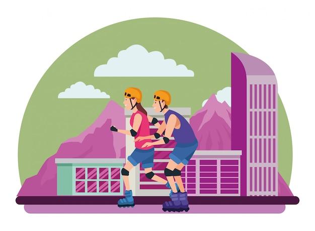 Jeune couple, formation, sports extrêmes