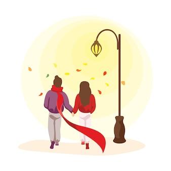 Jeune couple heureux amoureux passe le temps d'automne ensemble. homme et femme lors d'un rendez-vous romantique. hommes et femmes bien-aimés marchant dans le parc à la lumière d'un réverbère. illustration vectorielle eps