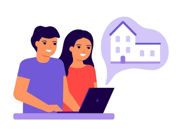 Jeune couple homme et femme utilisant un ordinateur portable et rêvant de maison choix familial de maison