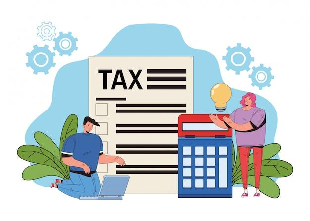 Jeune couple, à, impôt, et, calculatrice