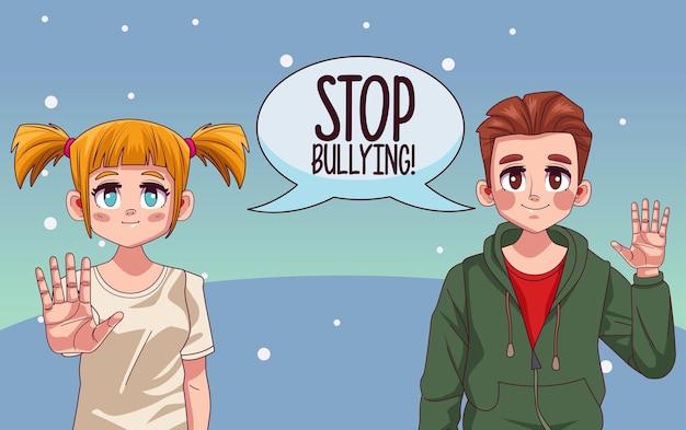 Jeune couple avec lettrage d'arrêt de l'intimidation dans la bulle de dialogue