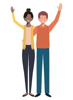Jeune couple avec les mains jusqu'à personnage avatar