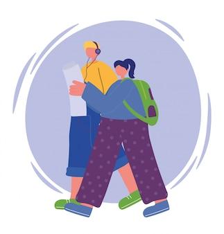 Jeune couple, marche, à, carte, et, écouter musique